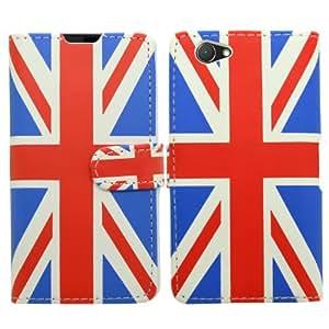 SAMRICK especial de bandera británica y funda de piel tipo libro, Protector de pantalla, gamuza de microfibra, blanco con lápiz capacitivo para Sony Xperia Z1 Compact - rojo azul y blanco