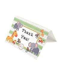 Adorox Baby Jungle Zoo Animals THANK YOU Cards Baby Shower Birthday Party Safari Theme Boys Girls (24 Pcs. Set) BOBEBE Online Baby Store From New York to Miami and Los Angeles