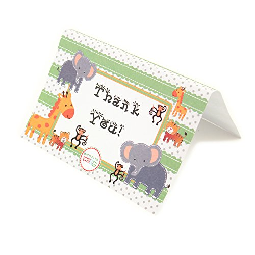 Adorox Baby Jungle Zoo Animals THANK YOU Cards Baby Shower Birthday Party Safari Theme Boys Girls (24 Pcs. (Girl Theme)