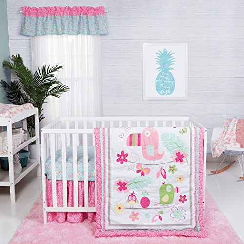 (Trend Lab Tropical Tweets 3 Piece Crib Bedding Set, Pink)