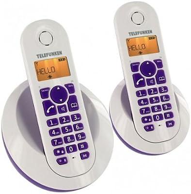 Telefunken TB202PFR Peps Duo - 2 teléfonos fijos inalámbricos, color morado (Pack de 2) [Importado de Francia]: Amazon.es: Electrónica