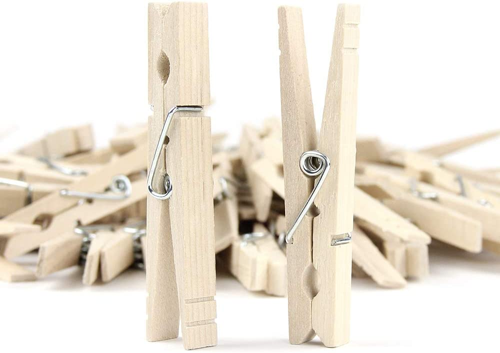 RIVERKING wood clips,clothes pins wood,clothing pins,wooden giant laundry close clothespins for laundry,diy crafts, outdoor clothesline,home kitchen travel office decor (50pcs,84mm)