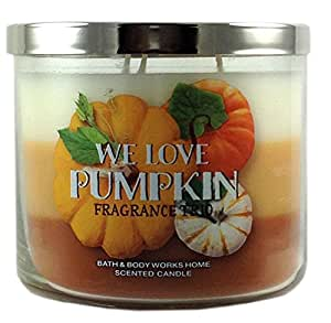 Bath & Body Works Home We Love Pumpkin Fragrance Trio Candle 3 Wick 14.5 Oz Limited Edition 2015 Scent Layer of Creamy Pumpkin, Roasted Pumpkin Butter and Sweet Cinnamon Pumpkin