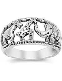 Elephant Giraffe African Animal Savanna Ring 925 Sterling Silver Band Sizes 4-12
