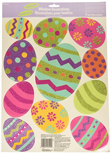 Amscan Easter Egg Vinyl Window Decorations with Glitter