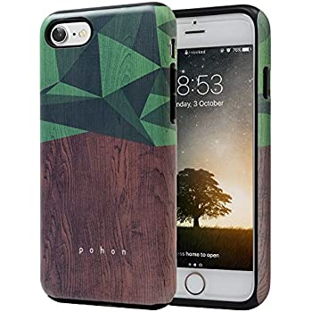 iPhone 7 Case, SKINU Wood Pattern [Shockproof 2 in 1 Hybrid] Rugged [Heavy Duty Combo] [Dual Layer] High Impact Durable Back Case Cover For iPhone 7 - Wood
