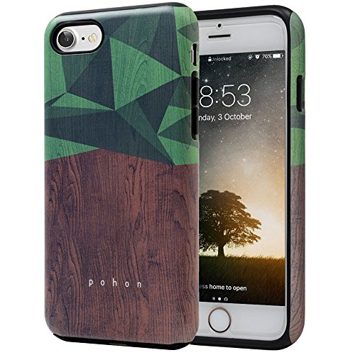 IPhone 7 Case SKINU Wood Pattern Shockproof 2 In 1 Hybrid Rugged Heavy Duty Combo Dual Layer High Impact Durable Back Cover For