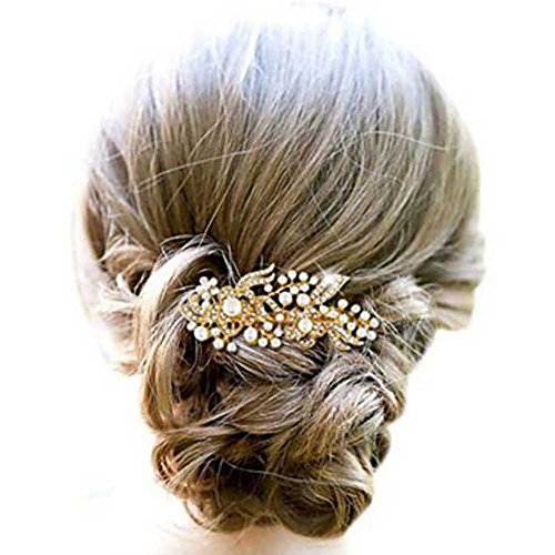Venusvi Golden /Silver Pearl Flower Hair Comb for Wedding Party Hair Jewelry (Gold)