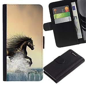KingStore / Leather Etui en cuir / Sony Xperia Z1 Compact D5503 / Caballo salvaje libre de Brown Water Running
