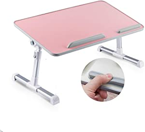 HOSL Adjustable Tablet Computer Desk Laptop Stand Foldable Notebook Table Shelf Portable Reading Table Homework Desk Dinning Table (No Fan, Peach Pink)