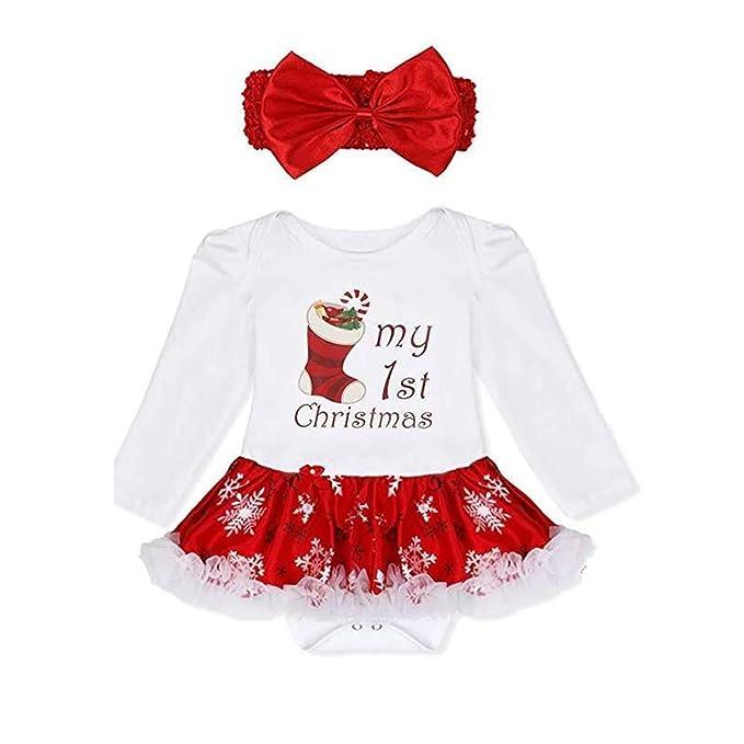 a6b2f6cde ZTie Baby Girls Bodysuit Romper with Headband Skirt Outfits Newborn Infant  My First Christmas Tutu Dress