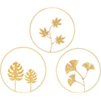 BESPORTBLE 3Pcs 9.43 Inch Iron Gloden Leaves Wall Sculptures Gold Metal Ginkgo Maple Monstera Leaf Wall Decor Round Wall…