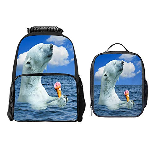 SARA NELL Polar Bears Love Ice Cream School Backpack Set Lunch Bag Cooler Lunchboxes 2 PCS