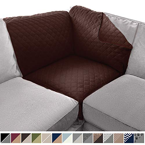Sofa Shield Original Patent Pending Reversible Sofa Corner Sectional Protector, 30x30 Inch, Washable Furniture Protector, 2 Inch Strap, Sectional Corner Slip Cover for Pets, Dogs, Chocolate
