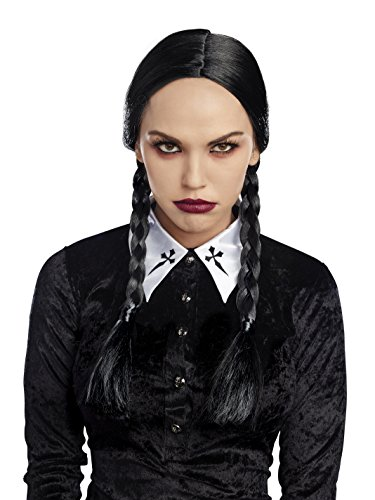 Dreamgirl Women's Double Braid Wig, Black, O/S