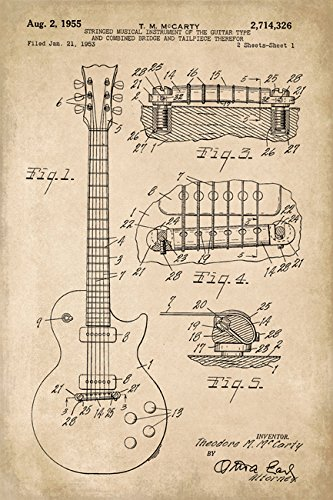 Gibson Les Paul Guitar Invention Patent Art Poster Print