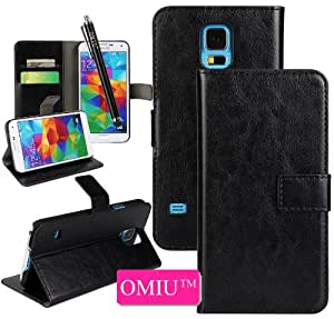 Galaxy S5 Case, OMIU(TM) Special Crazy Horse Pattern Flip Magnet Stand Leather Carry Case Cover Fit For Samsung Galaxy S5 I9600(Black),With Credit Cards Slots and Stylus Pen