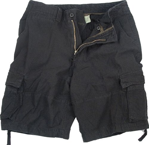 Black Infantry Vintage Military Cargo Utility Shorts, Large