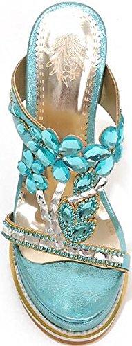 Laruise Women's Crystal Wedge Sandal Blue ajJRkyynr