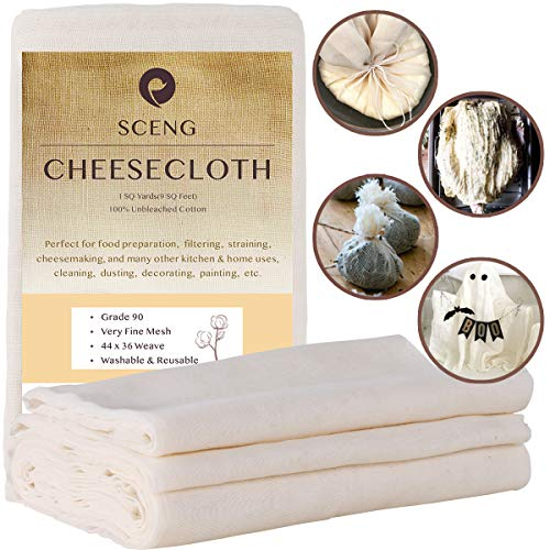 Cheesecloth, Grade 90, 9 Sq Feet, Reusable, 100% Unbleached Cotton Fabric, Ultra Fine Cheesecloth for Cooking - Nut Milk Bag, Strainer, Filter (Grade 90-1Yards)