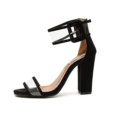 fa5d3d21c656 OTOSU Women s High Chunky Heel Sandals Open Toe Buckle Block Heel Claer Ankle  Strap Sexy Patry