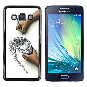 LECELL -- Funda protectora / Cubierta / Piel For Samsung Galaxy A3 SM-A300 -- Cool Draw Sketch Careful Think Spill --