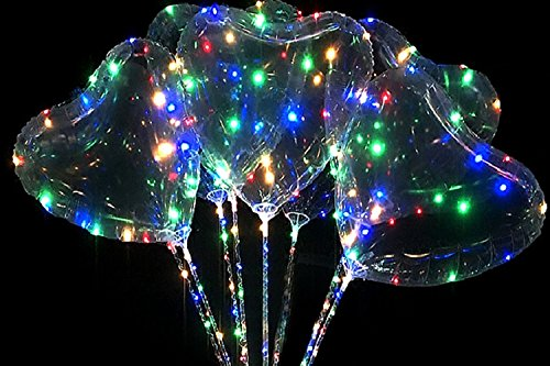 Swing Ball LED Transparent Balloons Heart Love Shape for Birthday Wedding Valentine Halloween Christmas New Year Party Decoration(1pc/Pack)