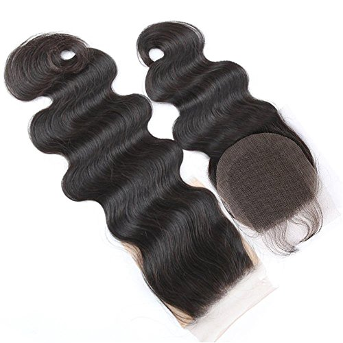 Boby Wave 4x4 Free Part Lace Closure with Baby Hair Natural Black Brazilian Virgin Human Hair Closures No Bleached Knots (12 inch)