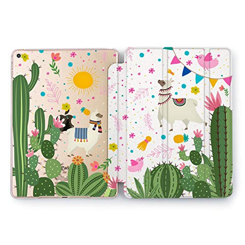 Wonder Wild Lama in Cactus New iPad Case Pro 9.7 inch Mini 1 2 3 4 Air 2 10.5 12.9 Nature Pattern Apple Smart Cover Clear Protective Pink Green 4th 5th 6th Girly Cute Generation Design 2017 2018 -