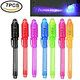 iPang UV Light Pen Set of 7, Invisible Ink Pen Maker, Kids Spy Message Pen with Built-in UV Light for Kids Party Favors Ideas Gifts and Security Marking
