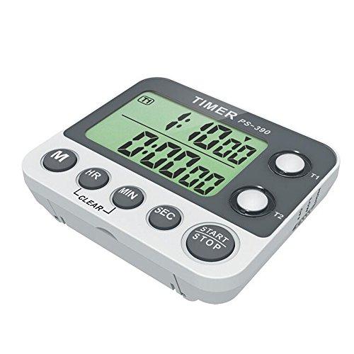 Asunflower Dual Digital Kitchen Timer Up to 100 Hours Traceable Flash LED Digital Cooking Clock Adjustable Alarm Set of 1