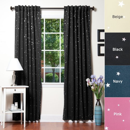 Best Home Fashion Star Print Thermal Insulated Blackout Curtains - Back Tab/ Rod Pocket - Black - 52