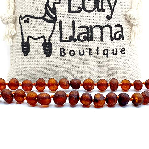 Lolly Llama Raw Amber Necklace (Unisex) Alternative Pain Relief - Certified Genuine Baltic Amber Necklace - Cognac (11.5)