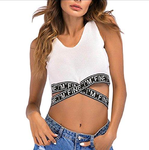 直感キリスト教進捗VITryst ニットショートミニtシャツの女性のクロップドセクシータンクトップクロス