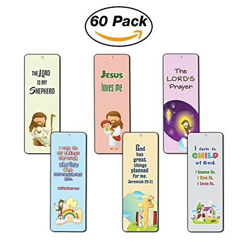 Christian Bookmarks Cards for Kids (60-Pack) - Scripture Bible Verses - Psalm 23 - Great Stocking Stuffers for Easter Baptism Thanksgiving Christmas Sunday School - Prayer Cards - War Room Decor School Bookmark