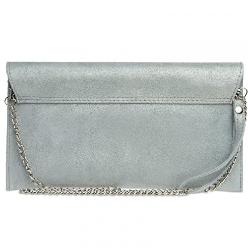 Leather TL702 Women CASPAR Clutch Silver Suede B7xqwUTt