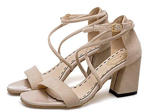 Suede Faux Chunky Dressy Damen Mid Aisun Schuhe Heels Sandalen qEtzwW
