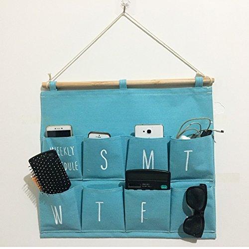 Home Wall Hanging Storage Bag 8 Pockets Cloth Finishing Finishing Storage Bag Door Behind Hook, Blue