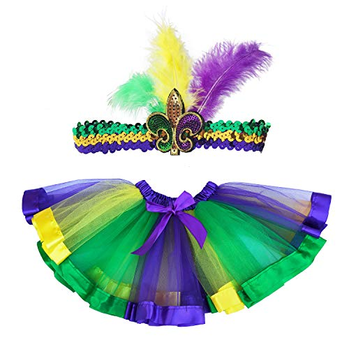 Mardi Gras Tutu (Danballto Mardi Gras Tutu Skirt Costumes for Girls Kids (Purple Yellow)