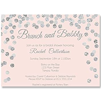 bridal shower invitations pink confetti glitter blush silver wedding shower