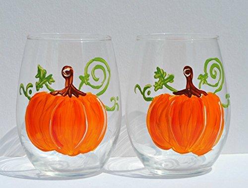 Thanksgiving Pumpkin Set (Orange Pumpkin Hand Painted (Set of 2) Stemless 20 oz Wine Glasses, Kitchen Decor)