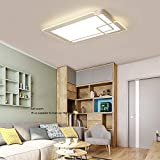 Ceiling Light Creative Simple Modern LED Rectangular Living Room Bedroom Chandelier Remote Control Home Lighting,95x62cm