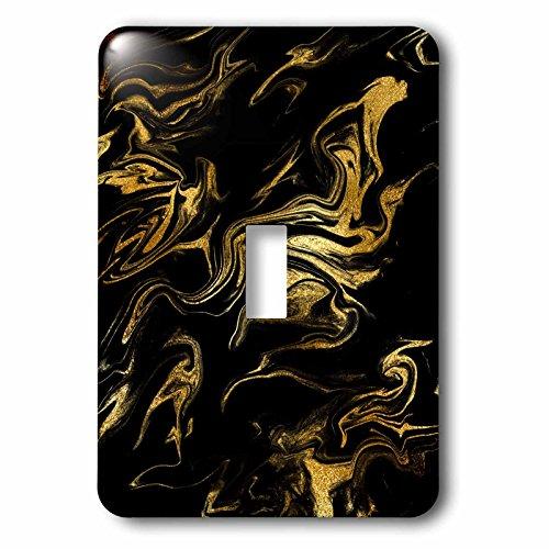 3dRose Uta Naumann Faux Glitter Pattern - Image of Chic Trendy Gold Glitter Veins on Black Marble Agate Gemstone - Light Switch Covers - single toggle switch (lsp_275232_1)