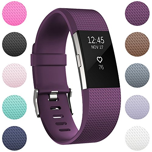 RedTaro For Fitbit Charge 2 Replacement Elastomer Bands, Accessories Fitbit Charge 2 Heart Rate Fitness Wristbands Small Plum
