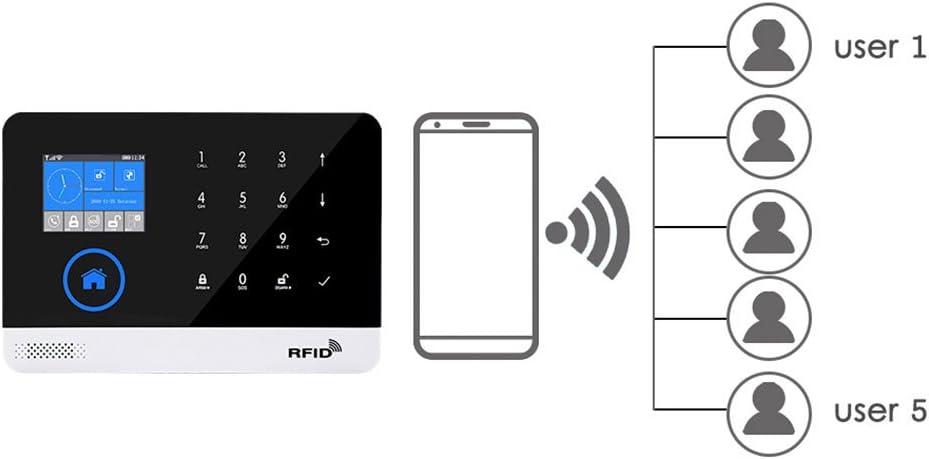 PENG Home Security sans Fil WiFi GSM GPRS syst/ème dalarme APP t/él/écommande RFID Kit de Cartes