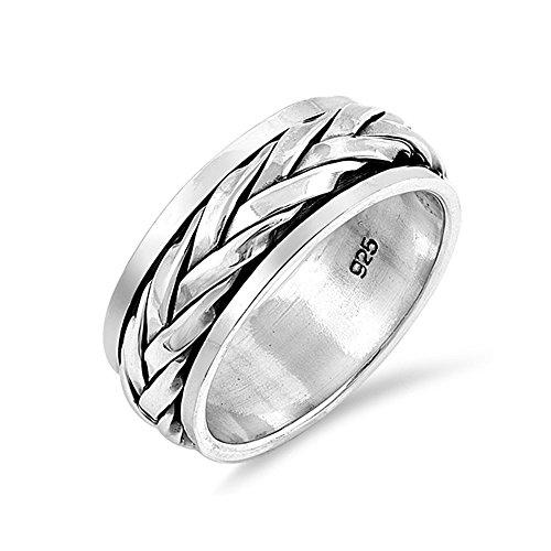 .925 Sterling Silver Flat Braid Spinner Wedding Band ()