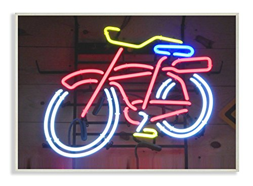 Stupell Home Décor Bicycle Neon Lights Photography Wall Plaque Art, 10 x 0.5 x 15, Proudly Made in USA (Pottery Barn 15)