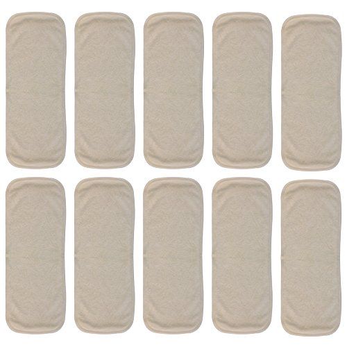 Bamboo Booster Doubler Insert Soaker Pad for Cloth Diapers (10-pack) -