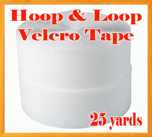 2'' Width X 25 Yards (75ft) Sew on Hook & Loop - White Premium Grade Non-adhesive Sew-on Style Sold Includes Hook and Loop Both Side by Display Sign Mart