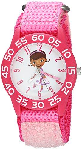 Disney Girl's 'Doc Mcstuffins' Quartz Plastic and Nylon Casual Watch, Color:Pink (Model: WDS000286)